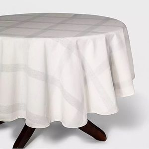 Threshold white silver round cloth tablecloth